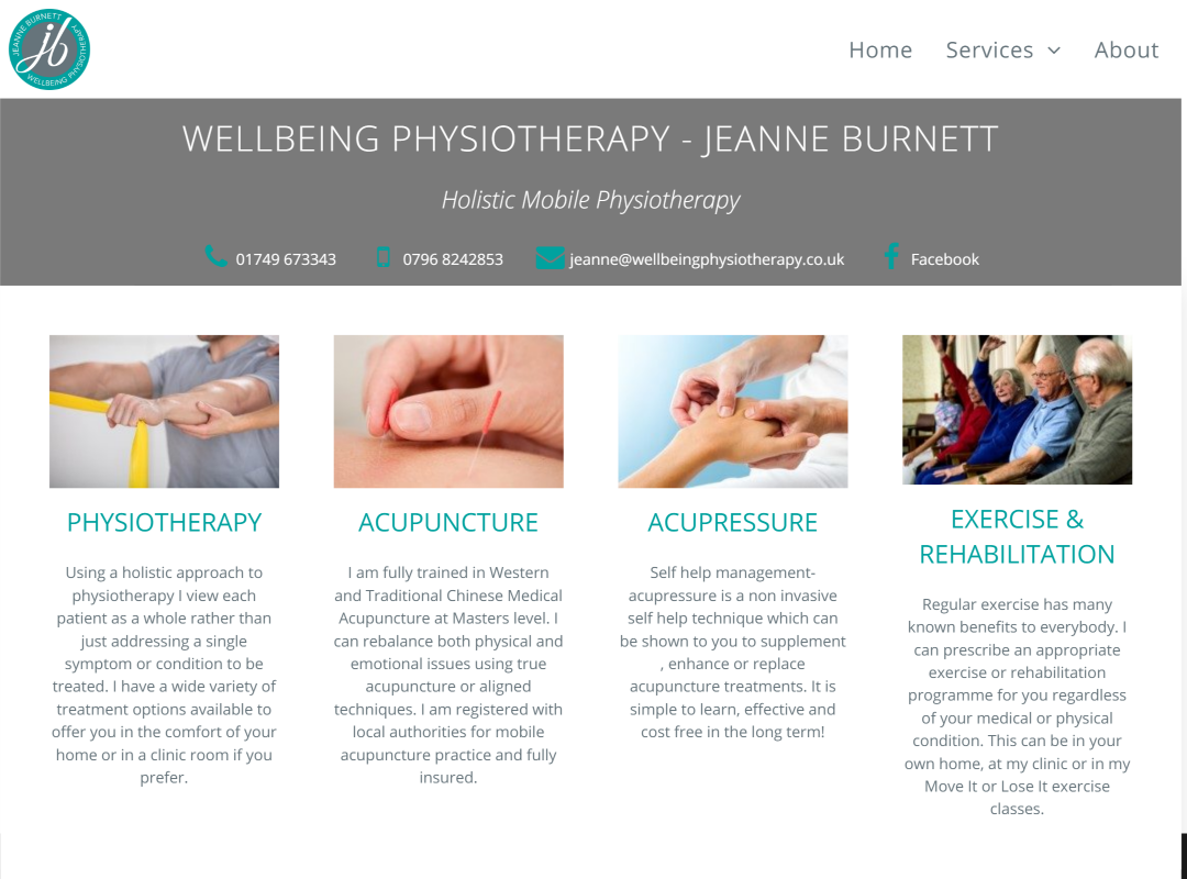 Wellbeing Physiotherapy website